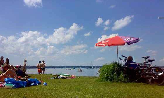 beach at St. Heinrich at the Southern lake Starnberg