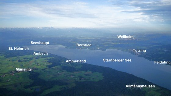Towns along the boarders of lake starnberg